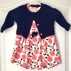Pink Floral dress w/navy matching cardigan 0-3 m
